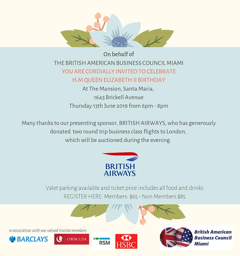 Queen's Birthday Celebration | British-American Business Council Miami